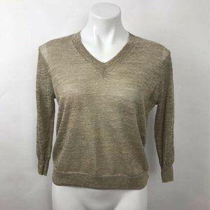 J.CREW Sweater Brown Heathered V Neck Linen Sz XXS